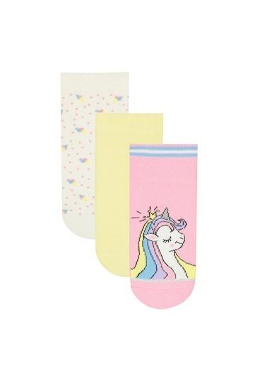Penti Kız Çocuk Unicorn 3Lü Patik Çorap Renkli